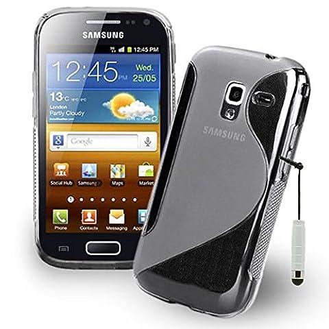 VCOMP® Housse Etui Coque souple silicone gel motif S-Line pour Samsung Galaxy Ace 2 i8160 + mini stylet - TRANSPARENT