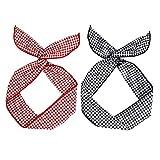 Xinlie 2 Stück Biegbares Haarband Bunny Ohr Binden Bow Stirnband Kariertes Haarband Twist Bow Wired Stirnbänder aus Baumwolle mit Polka Punkt oder Streifen für Damen Niedlich Haarschmuck