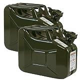 2er Set 10 Liter Benzinkanister Metall GGVS mit Sicherungsstift oliv/grün Armee