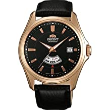 ORIENT Mod. CLASSIC NIGHT&DAY - Automatic - Day, Date, AM-PM Indicator - S/S Gold Plated Case - Black Dial - Black Leather Strap