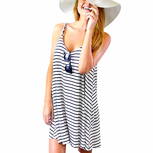 Damen Sommer Ärmellos Minikleid, LILICAT Frauen Chic Kleid Gestreiften Strand Partei Beiläufig Sundress Kurzer Kleider (M, Blau) (Federn Mädchen Kurze)