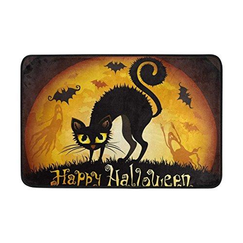 lip Door Mat Home Decor, Halloween Black Cat Yellow Moon Durable Indoor Outdoor Entrance Doormat 23.6 X 15.7 Inches ()