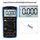 Multimeter, Morpilot TRMS 6000Counts Digital Ohmmeters Manual and Auto Ranging, Measures Voltage, Current, Resistance, Continuity, Capacitance, Frequency; Test Diodes, Transistors, Temperature