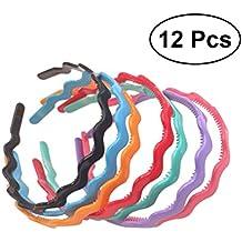Frcolor Venda de plástico con dientes, Hairbands coloridos del aro del pelo de la onda