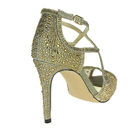 ... Frau Damen Diamante Hohe Absatz Peep Toe Querriemen Braut Abend  Hochzeit Party Prom Sandale Schuhe Größe ...