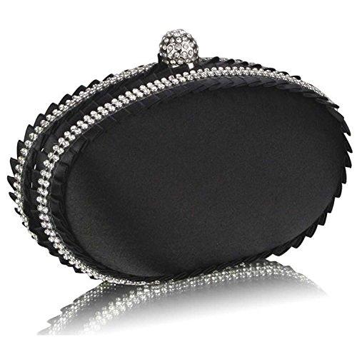 L And S Handbags  Satin Clutch Bag With Crystal Decoration, Pochette pour femme Noir