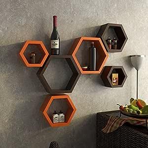 Onlineshoppee Set Of 6 Hexagon Shape Designer Storage Shelves - Orange And Brown
