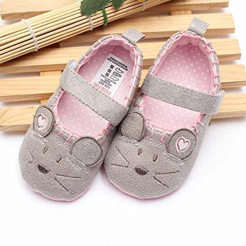 Bluelover Mädchen Baby Kleinkind Süße Maus Weiche Sohle Babybett Schuhe Mary Janes Rutschfeste Schuhe - Grau 11