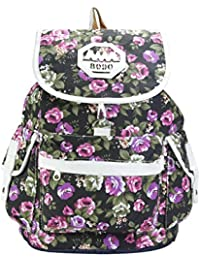DESENCE Women & Girls Stylish Backpack/Bagpack Bags For College/School/Travel -Canvas Floral Design- 10 Liters
