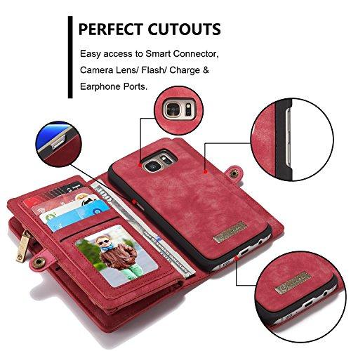 SDDMALL CaseMe abnehmbare Reißverschluss-Mappen-Leder-Kasten für Samsung S7 ( Color : Red ) Red