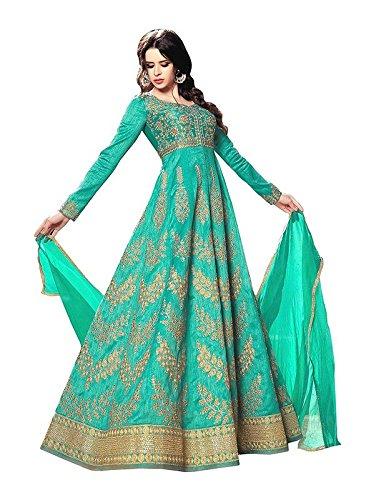 Ethnic Empire Women Poly Silk Anarkali Semi-Stitched Wedding Salwar Suits For Women...