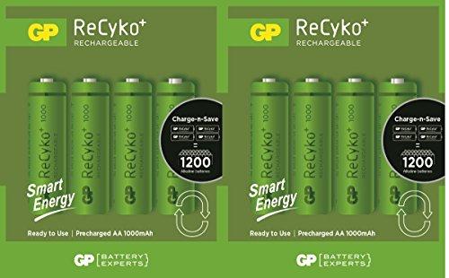 8x GP wiederaufladbare AA-Batterien 1000mAh NiMH HR6, für Solarleuchten, schnurlose Telefone