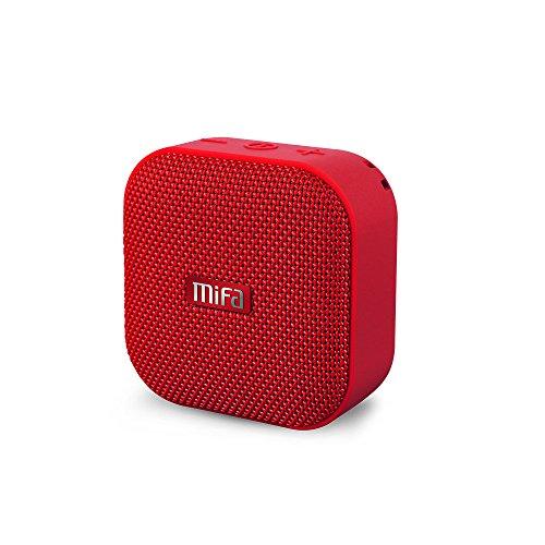 MIFA A1 Mini Lautsprecher Bluetooth, Technologie TWS, 15 Stunden Spielzeit, IP56 Wasserfester und Staubdichter Wireless Speaker mit 3,5mm Audio-Eingang, Micro SD Karte Slot und Eingebautem Mikro, rot