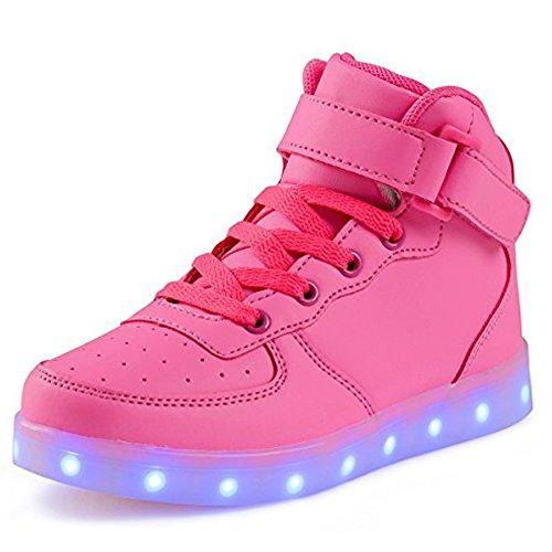 Chaussure à Led Usb Batterie Semelle Lumineuse Fille Garçon Enfant Basket Lumiere Qui Clignotant Femme Adulte Rose