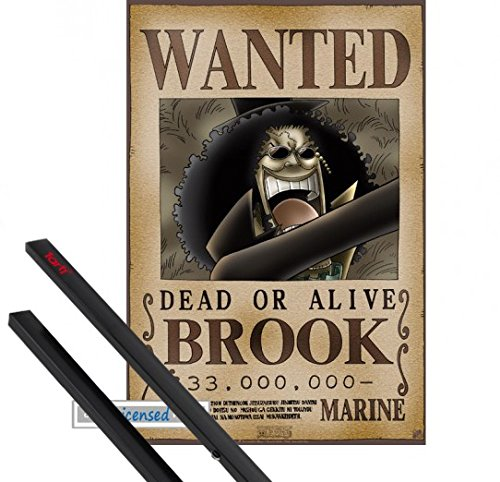 Poster + Hanger: One Piece Mini-Poster (52x35 cm) Wanted Brook Soul King Inklusive Ein Paar 1art1 Posterleisten, Schwarz