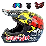 NBZH Dual Sport Motocross Helmet Motorcycle Off Road Dirt Bike ATV D.O.T AM Mountainbike-Langstreckenrennen Helmet/Multicolor Goggles/Mask/Handschuhe (Style 7),Bullfight,XXL