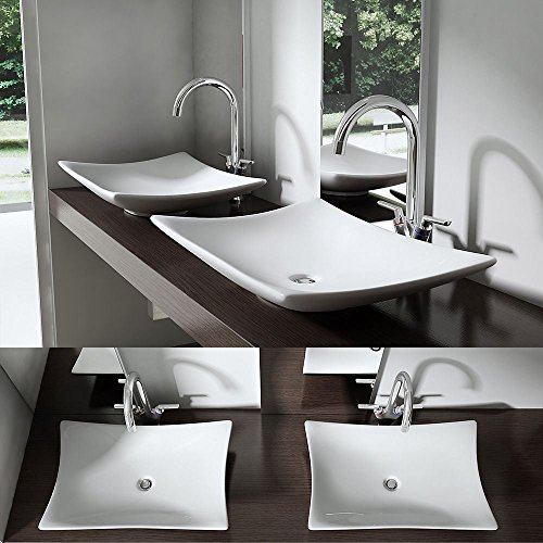 Durovin Modern Ceramic Bathroom Sink Curved CounterTop Rectangle Wash Basin Sink Gloss 40 x 60 x 9 cm