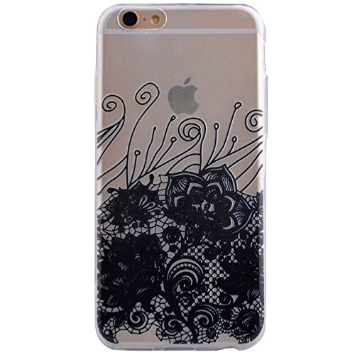 "iPhone 8 Schutzhülle, ultra dünn TPU weich flexibel Colorful Vinylfolie Muster Design Jelly Schutz Gel Case Cover Skin für Apple iPhone 8 (11,9 cm), Black Frowny Face, Apple iPhone 8 (4.7"") Black Patterned Flowers"