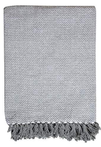 EHC Plaid Gris en Coton pour canapé, Fauteuil et lit - Simple: 125x 150cm, Coton, Gris, Large/150 x 200 cm/Small Double