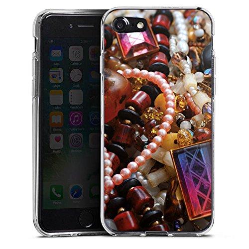 Apple iPhone X Silikon Hülle Case Schutzhülle Schmuck Juwelen Perlen Silikon Case transparent