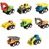 Babytintin™ 8 Pcs Mini Plastic Pull-back And Go Car Model Toy Sets Classic Construction Team Vehicle Play Push N Go Trucks Dumpers Toy For 2 Year Olds