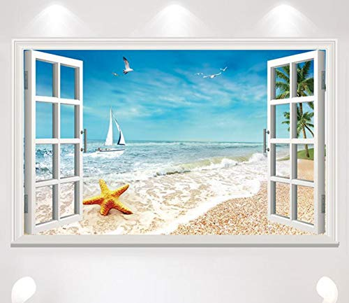 er wandaufkleber simulation meer sea wall dekoration malerei 60x90 cm ()