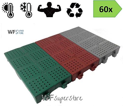 Piastrella in plastica 40x20h5 - 60 pezzi - mattonella forata drenante giardino campeggio (Grigio)