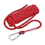 Paracord da 12mm di diametro con Moschettone, corda intrecciata da arrampicata corda di sicurezza per uso durevole, corda in Nylon ad alta resistenza per le attività all'aria a (Rosso 10m)