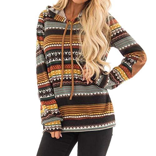 GreatestPAK Pullover Damen Drucken Hoodie Sweater Tops Gelb