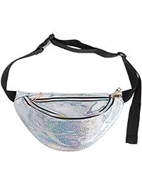 FENICAL Los hombres de las mujeres reflexivo a prueba de agua de colores corriendo paquete de la cintura del pecho del bolso Crossbody bolsa de playa paquete monedero (plata)