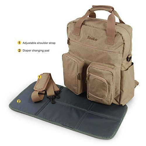 Becko Multi-functional Diaper Bag / Travel Padded Backpack / Adjustable Shoulder Bag / Tote Handbag with Changing Pad (Khaki) 51cbY 3Q9UL