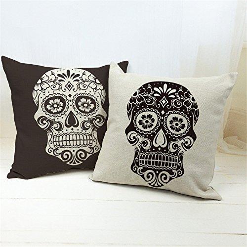 Musunas 2pezzi nero e beige a forma di teschio in cotone lino decorativo federe cuscino divano letto home decor throw cuscino federa per cuscino 45cm x 45cm
