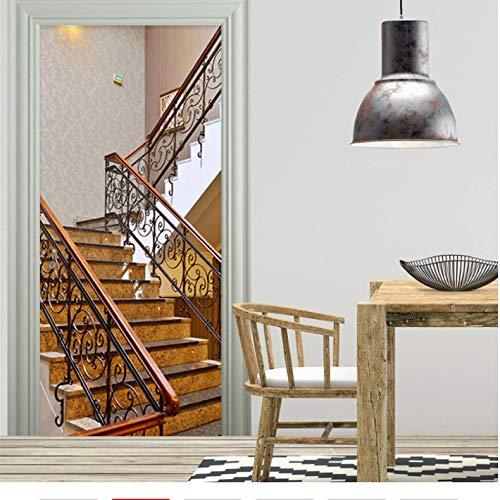 jztunw Tür Aufkleber Klassische Korridor 3D Marmortreppen Tapete Küche PVC Selbstklebende wasserdichte Wand-Dekor Kreative DIY Wandbilder 95 * 215 cm