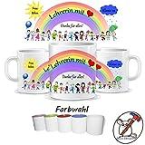 Tasse für die Lehrerin mit Herz / Tasse für den Lehrer mit Herz / Danke für alles / Personalisierbar mit dem Namen des Kindes, der Klasse und des/der Lehrer/in / GESCHENKIDEE LEHRER/IN / Tasse Lehrerin / Tasse Lehrer
