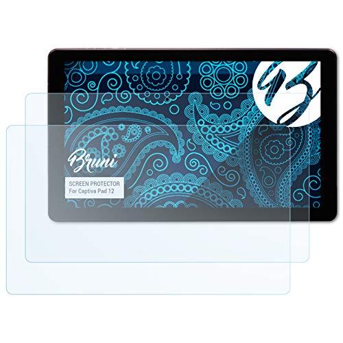 Bruni Schutzfolie für Captiva Pad 12 Folie, glasklare Bildschirmschutzfolie (2X)