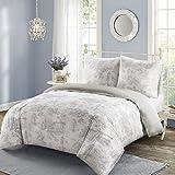 SCM Bettwäsche 200x200cm Grau 100% Baumwolle Renforcé 3-teilig Bettbezug & Kissenbezüge 80x80cm im Englischen Landhausstil Astoria Ideal für Schlafzimmer