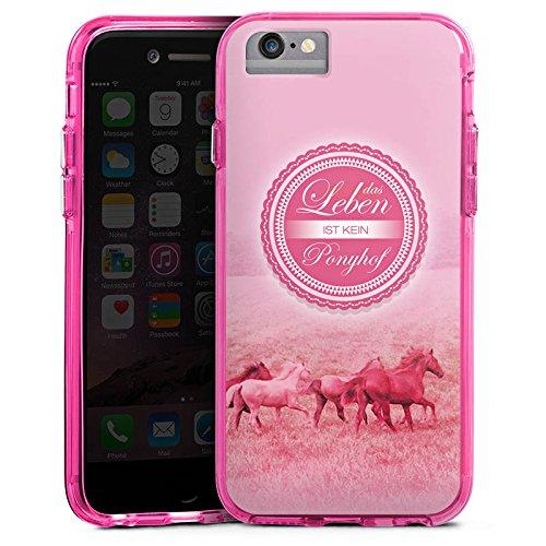 Apple iPhone 8 Bumper Hülle Bumper Case Glitzer Hülle Ponyhof Pferde Horses Bumper Case transparent pink