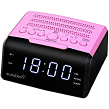"Sunstech FRD35UPK - Radio despertador, con alarma dual y pantalla LED iluminada en azul de 0.9"" (AM / FM Digital PLL, USB cargador, conexión auriculares) color rosa"