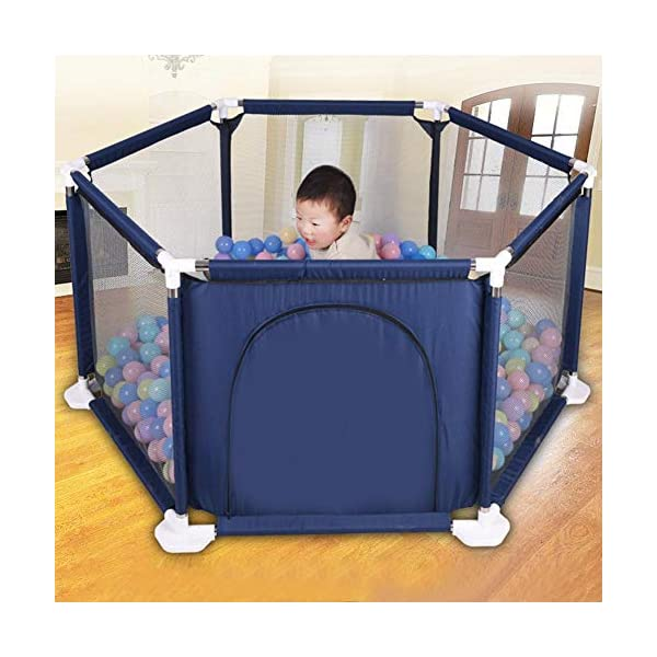 lā Vestmon Kids Baby Indoor Outdoor Safety Game Playpen Fence Children's Game Folding Fence Colorful Ball Pool Tent Game House Play Fence Six Sided Fence  1.Thickened details and selected design: it features widened base and thickened pipe, which helps the baby to learn to walk and does not hurt the baby's hands. 2. Safety and stability: It features 65.5cm safety height, stable hexagonal design, no rollover, and firm stainless steel frame; it features thickened pipes to help the baby to learn to walk and round tube piecing safety design to prevent hurting the baby's hands. 3.Environmentally friendly materials: It features DDPE environmentally friendly materials, high-density sewing, which makes it durable and not easy to break; It features high-density mesh, 5-sided mesh high-density for ventilation and a visual design, and the baby can not break it. 6