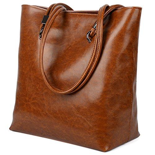 Yaluxe Donna Casual Stile pelle Borse a spalla elegante Borsetta Borse a tracolla marrone