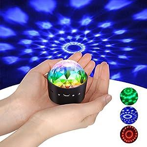 Mini Discokugel Licht,YIKANWEN Stimme Steuerung Disco Party Lichter Bühnenbeleuchtung Effektlicht DJ Stroboskop Kugel…