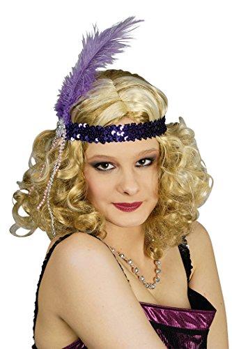 Stirnband mit Pailletten Violett und Feder Violett