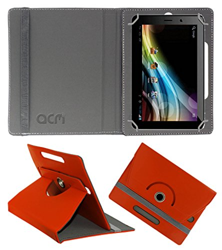 Acm Rotating 360° Leather Flip Case for Karbonn Ta-Fone A37 Cover Stand Orange  available at amazon for Rs.149