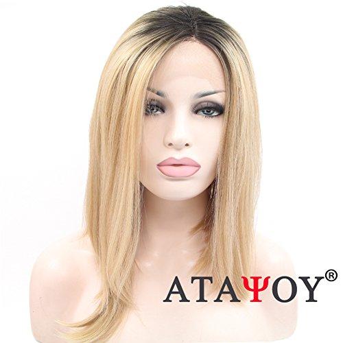 ATAYOU® 16 Inches Schwarz zu Blonde Glatt Ombre Perücke Kurz Gerade Lace Front Perücke Hitzebeständige Synthetische Perücken für ()