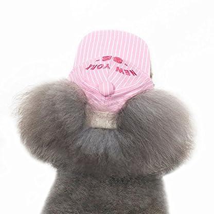 UEETEK Pet Dog Baseball Cap Visor Sun Hat with Ear Holes for Small Dog Size M Pink 2