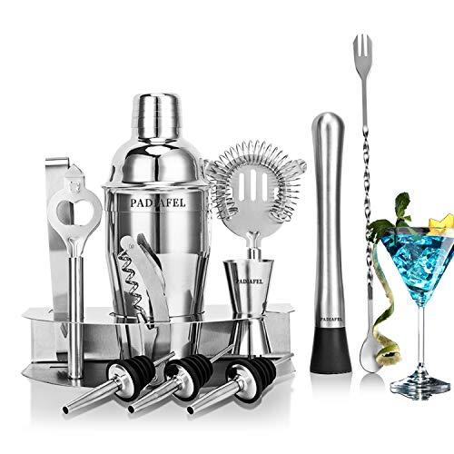 PADIAFEL Professioneller Cocktail Shaker Set, Edelstahl Cocktailshaker Set 12-Teiliges: 550ML Cocktail Shaker, Jigger, Barlöffel, Korkenzieher, Flaschenöffner, Ausgießer, Sieb, Eiszange, Pistill
