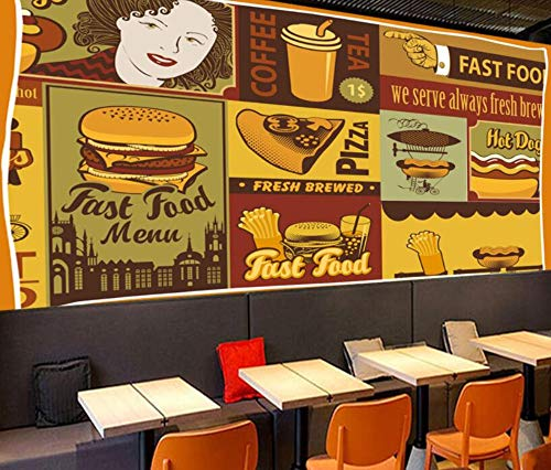 Minyose Custom wallpaper mural European pizza shop color graffiti Sofa indoor background wall wallpaper for walls 3D-300cmx210cm Red Brick Pizza