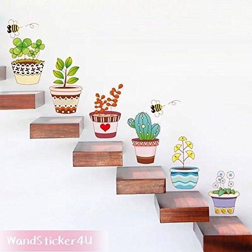 sticker4u-mural-6-pieces-fleurs-pots-effet-image-130-x-35-cm-pot-de-fleurs-vase-abeille-multicolore-