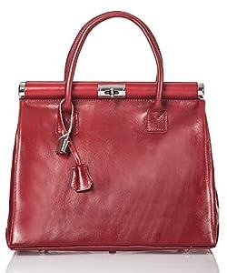 italienische Damen Henkeltasche Monaco aus echtem Leder in karmin rot, Made in Italy, Handtasche 34x26 cm