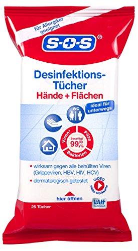 SOS Desinfektionstücher, 25 Stück